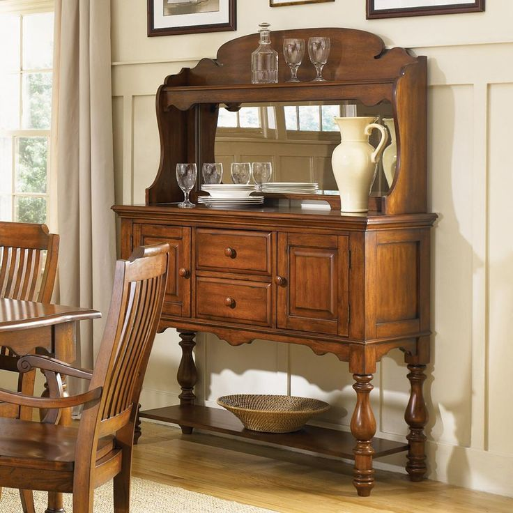 Americana Traditional Server Mirored Hutch By Liberty Furniture