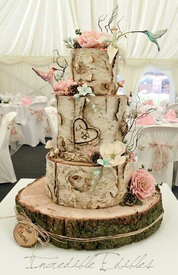A Pair Of Whimsical Hummingbirds Bring This Lovely Woodland Wedding Cake To Life