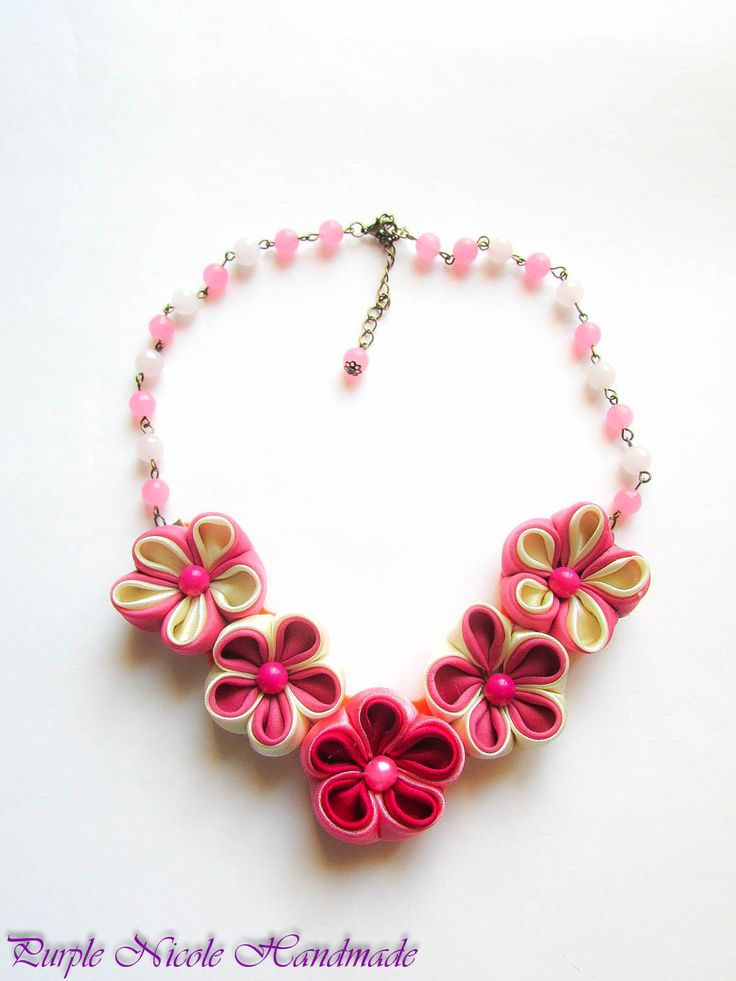 Kiku - Handmade Statement Necklace made by Purple Nicole (Nicole Cea Mov) inspired by Japan`s cherry flowers. Materials: quartz faceted spheres, bronze accessories, handmade satin kanzashi flowers