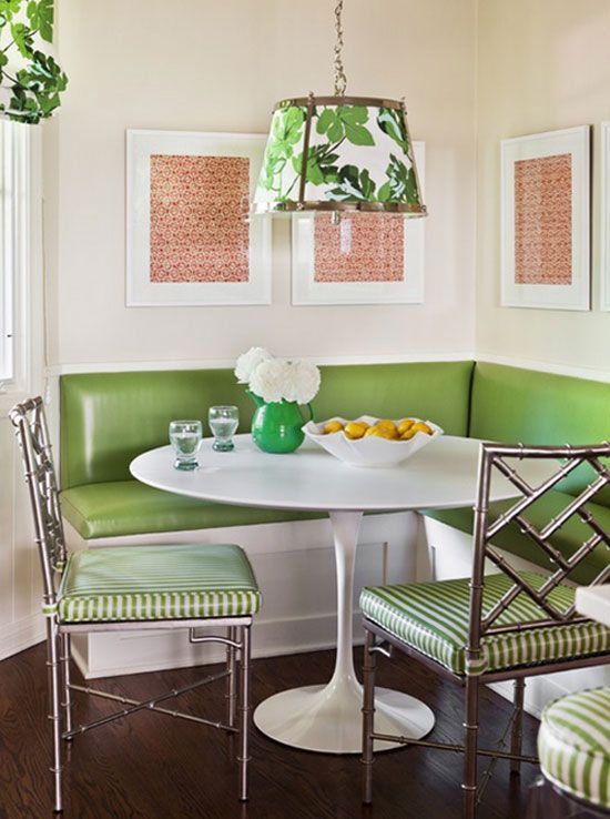 Kitchen Layout With Breakfast Area Nooks Contemporary Meets Retro Green Upholstery Metallic Household Wants Pinterest Dining