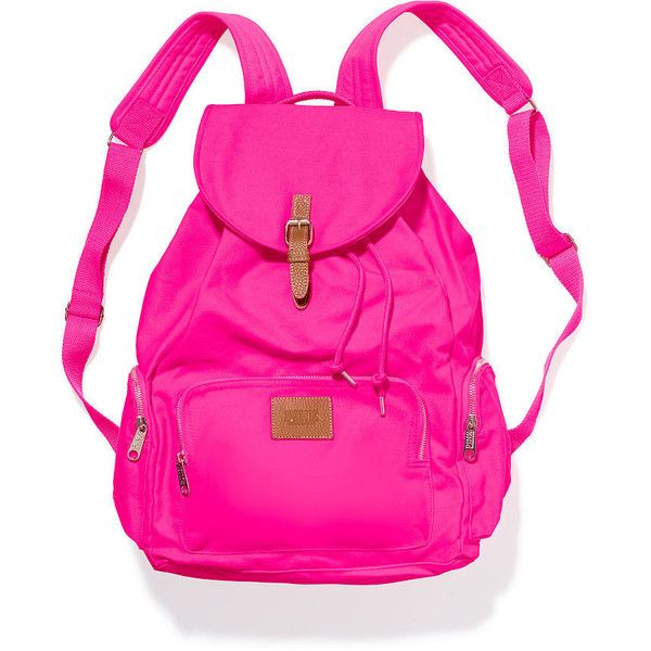 Victoria's Secret PINK Backpack ($20) ❤ liked on Polyvore featuring bags, backpacks, accessories, bags/purse, bolsas, gypsy rose, pocket bag, cotton canvas bag, pink drawstring bags y drawstring bag