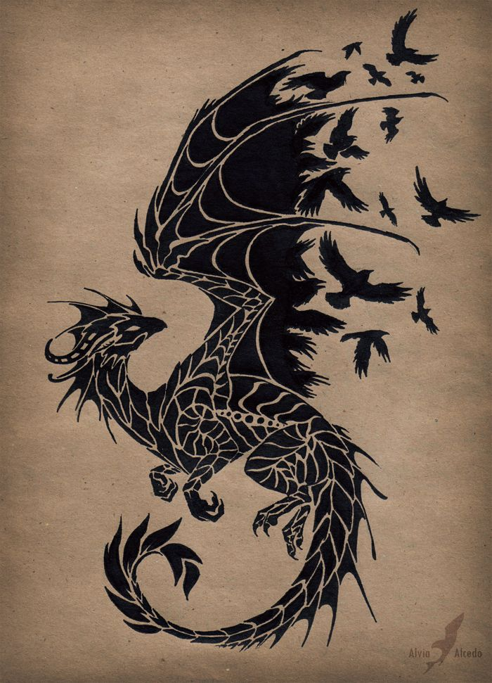 Black raven dragon tattoo design by Alvia Alcedo - very Game of Thrones -esque.