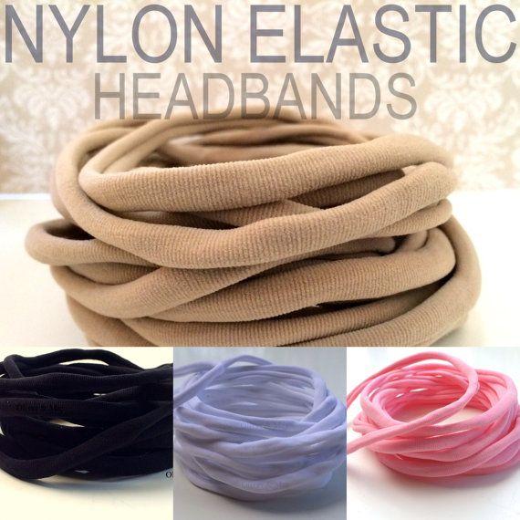 5 Pieces  Wholesale Nylon Headbands Thin One Size by OliverAndMay