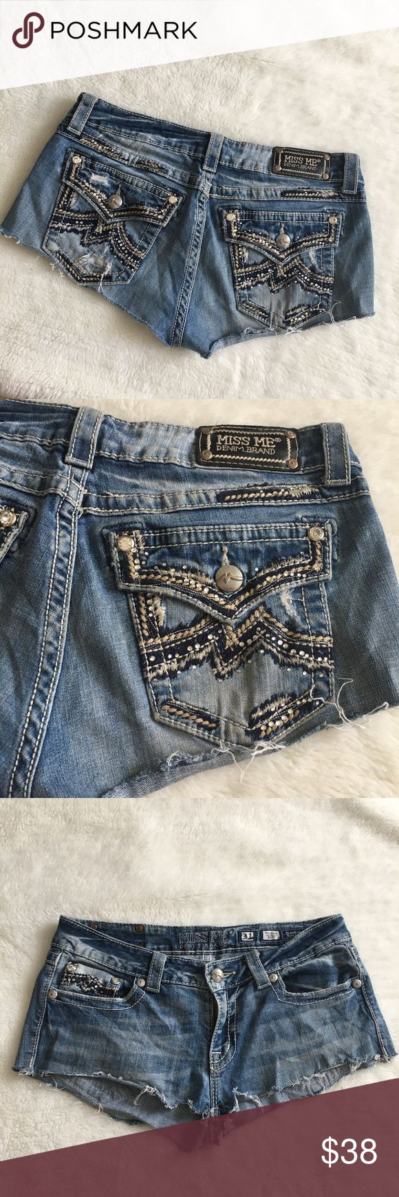 """Miss Me Jean Shorts size 31x1/4"""" Preowned authentic Miss Me Jeans Shorts size 31x1/4"""". Rise is   8"""" inches. Homemade. Used to be Bootcut jeans. Signs of normal regular wear. Please look at pictures for better reference. Happy shopping. Miss Me Shorts Jean Shorts"""