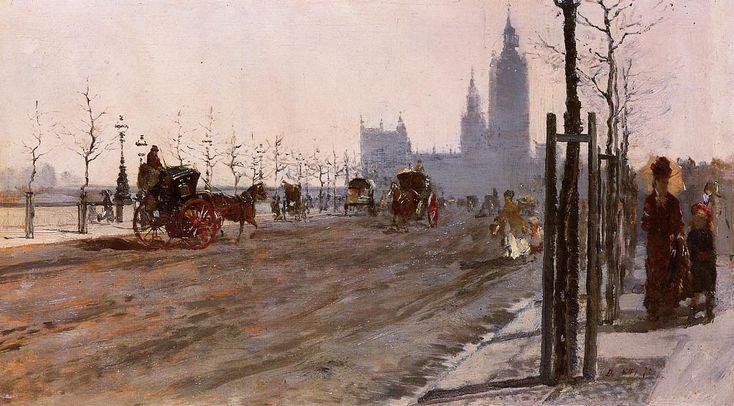 Giuseppe De Nittis (Italian 1846–1884) [Impressionism, Salon] The Victoria Embankment, London, 1875.