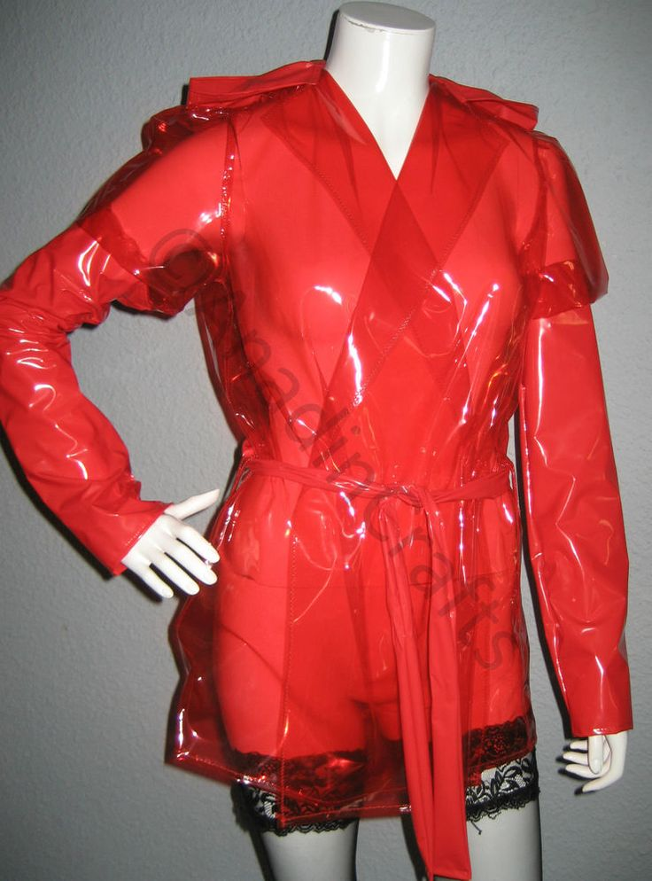 New Pvc Red Raincoat Hooded Jacket Coat Trench Red Amp Semi
