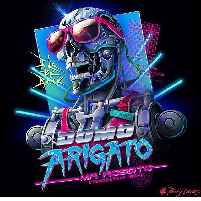 We love Rocky Davies @ageofnerd artwork the perfect mix between 80's pop-culture and music. Check out this sweet Terminator/Polysics artwork. Radical! #rockydavies #fanart #mashup #terminator #polysics #domoarigato #mrroboto #どもありがとミスターロバート #disco #neon #design
