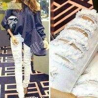 Celana jeans robek wanita SV Ripped Putih
