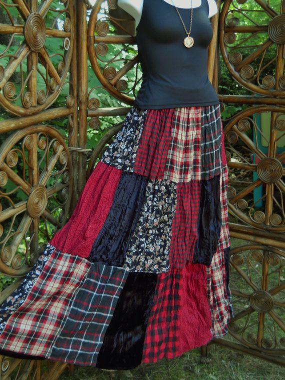 Gypsy red and black patchwork broomstick skirt by LamplightGifts, $20.00
