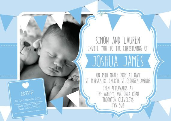DIGITAL Boys Christening Baptism Bunting Inspired invitation