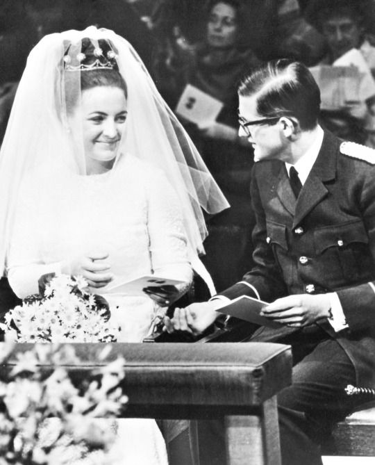 Princess Margriet of the Netherlands and Pieter van Vollenhoven on their wedding day on January 10, 1967.