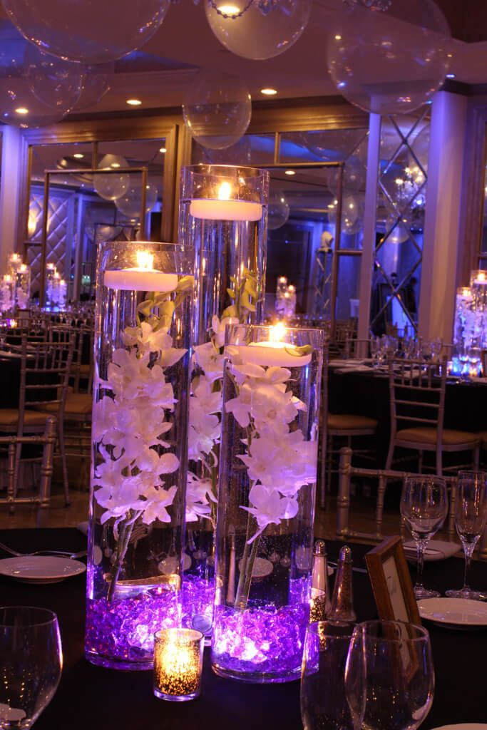 LED Orchid Centerpiece LED Orchid Centerpiece with Purple Crystal Chips & Floating Candles