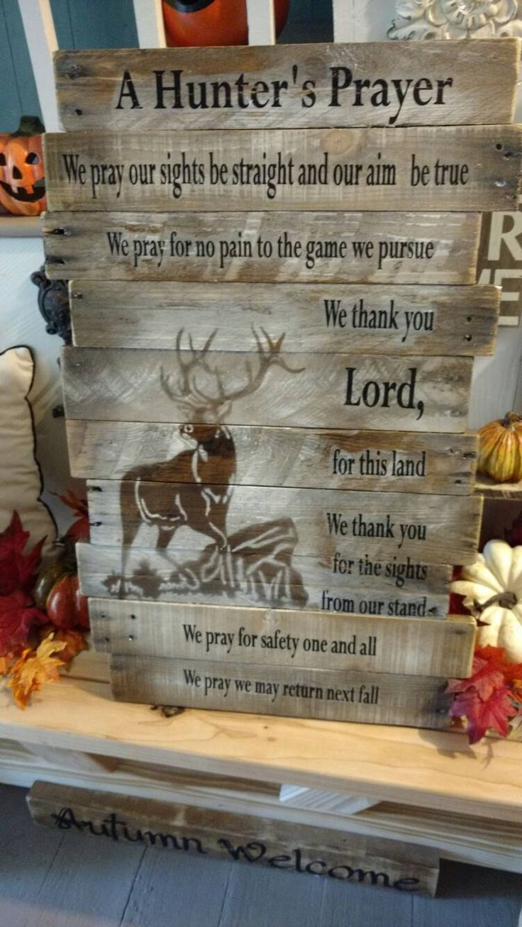 Hunter's Prayer, Reclaimed wood, pallet wood, Christmas, deer, hunt, hunter, elk, wood sign, rustic, by BoxedCreativity on Etsy