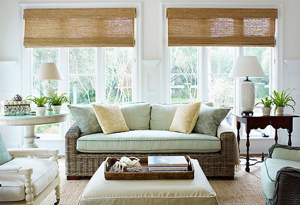 Wicker Sofa In Coastal Family Room