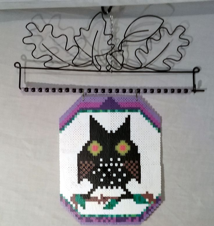 Owl Banner, made with Perler Beads on wire Hanger