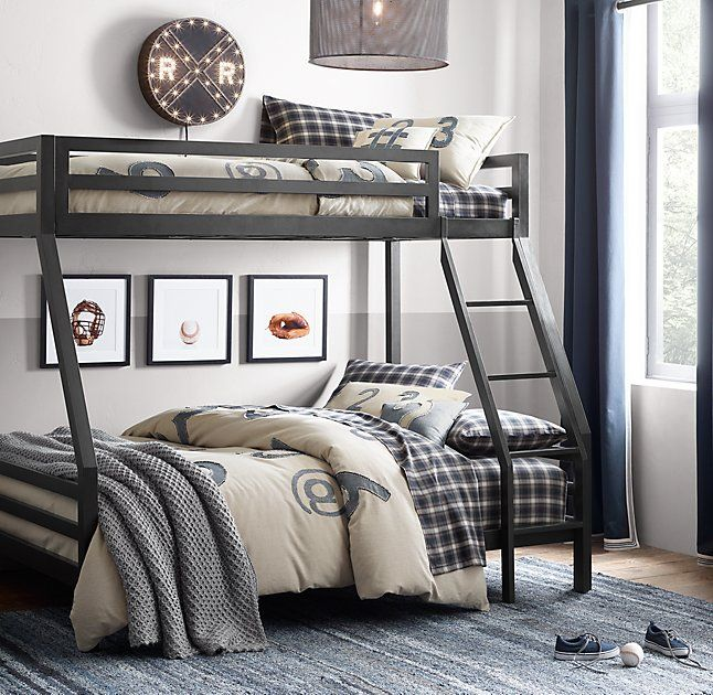 RH Baby & Child's Industrial Loft Twin-Over-Full Bunk Bed:A darling of industrial-era design, steel offers unparalleled strength and durability, making it the ideal material for turn-of-the-century skyscrapers – and our space-saving, multilevel bed.