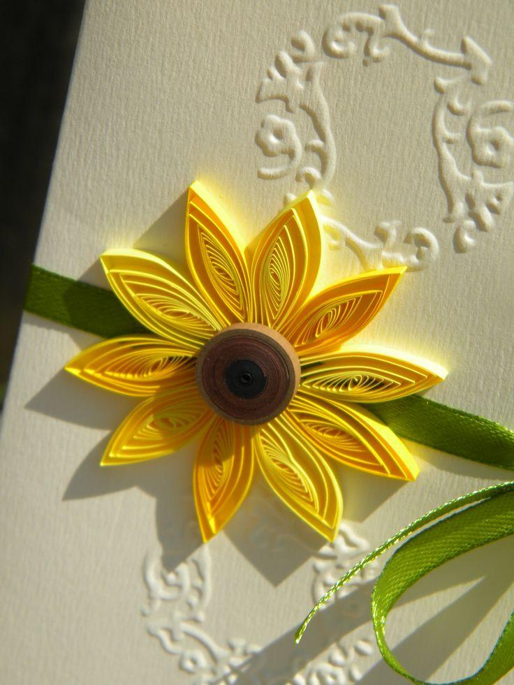sunflower wedding invitations printable%0A Close detail of a sunflower wedding invitation