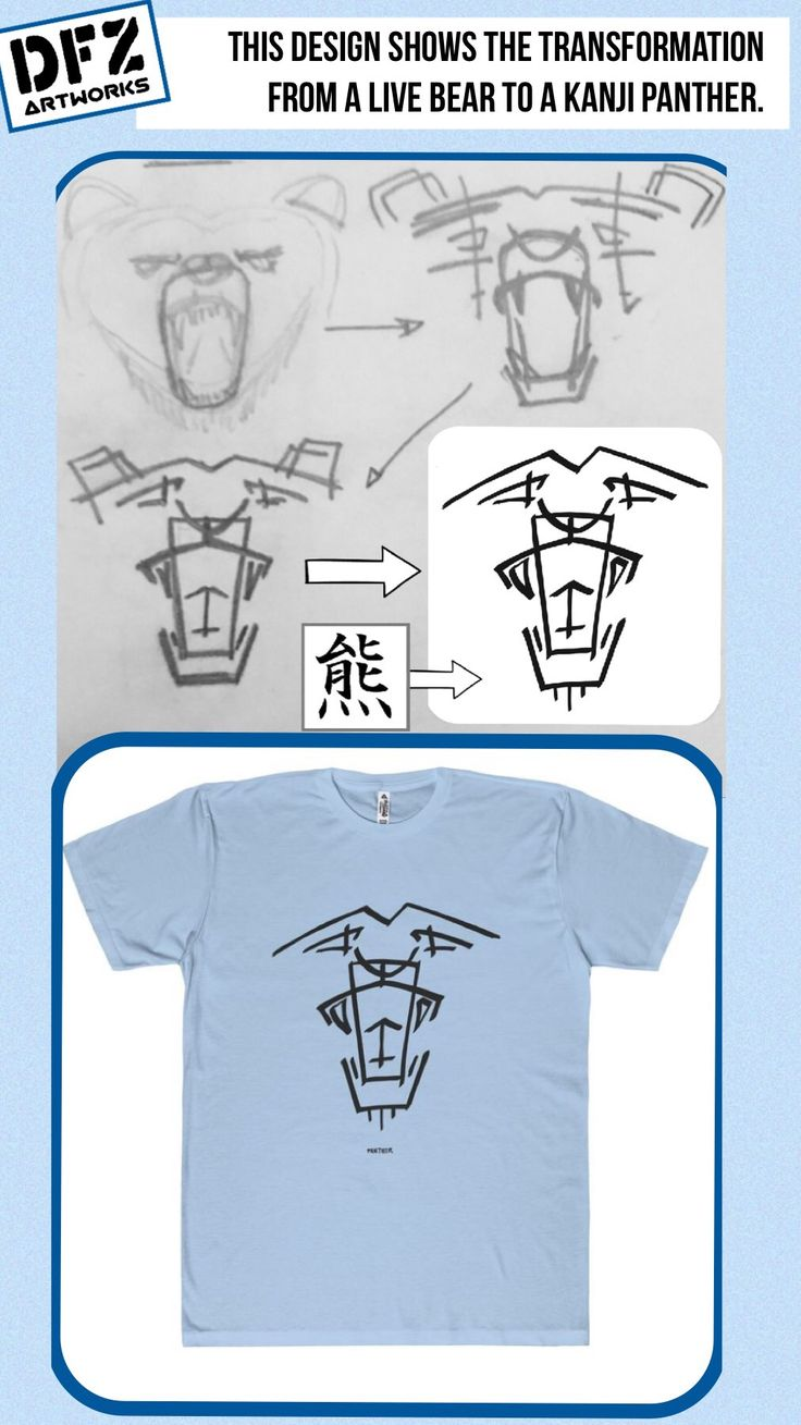 This design shows the transformation from a live bear to a Kanji Panther.  Audience: Young Adults, Age: 18-38, 60% male, 40% female. Likes: Kanji Art, Tattoo, hieroglyphics, panthers, symbols.