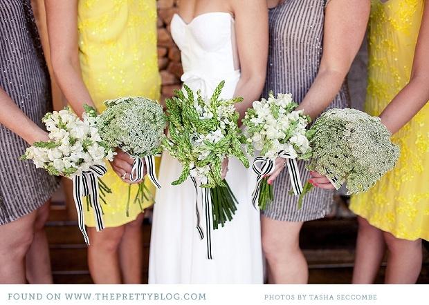 Green & white bouquets   Photo: @Tasha Adams Seccombe