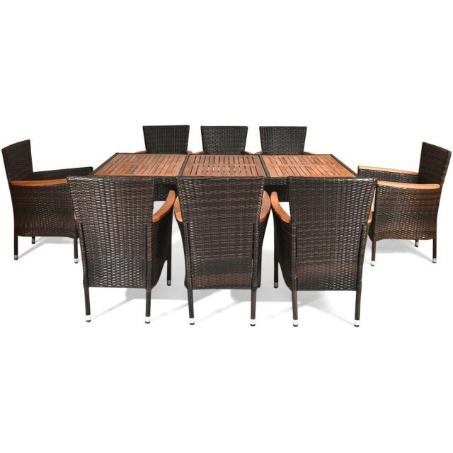 Round Outdoor Dining Sets For 8 In 2020 Wicker Dining Tables