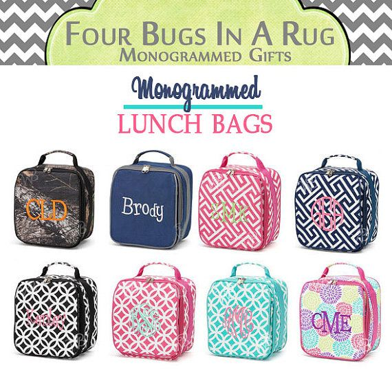 Personalized Lunch Bag  Monogrammed Lunch Box  by fourbugsinarug