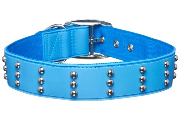 Gummi Pets Dog Collar Blue w/ Studs Non-toxic Rubber NEW