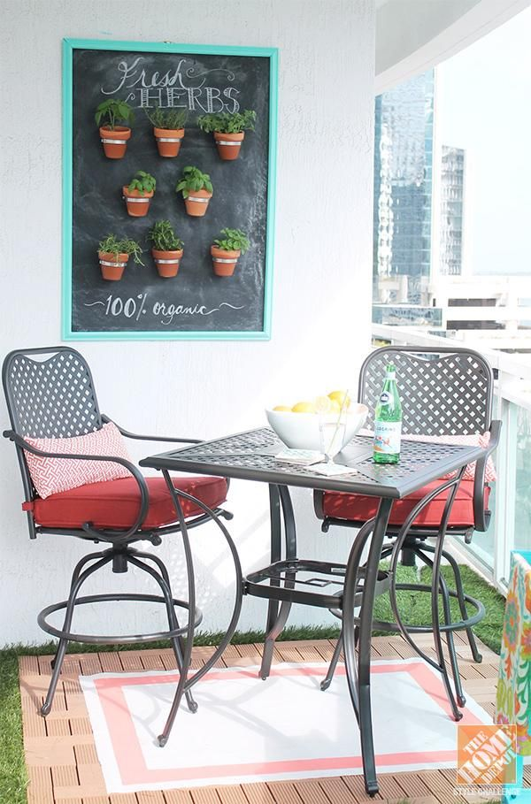 Check out these simple decorating ideas from Amber Kemp-Gerstel's awesome small apartment patio.