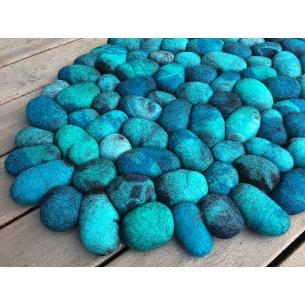 Felt Stone Rug Bath Mat Super Soft With Soft Core Turquoise ($182) ❤ Liked  On Polyvore Featuring Home, Bed U0026 Bath, Bath, Bath Rugs, Bath Mats U0026 Rugs,  ...