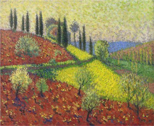 Cyprus Trees on the Hill - Henri Martin