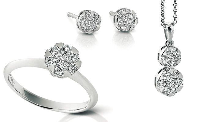 Parure in oro bianco e diamanti con incassatura invisibile.  Gioielleria F.lli Cappon Torino