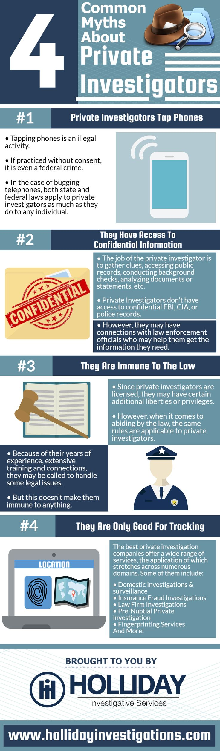 4 Common Myths About Private Investigators   Private Investigators Tap Phones  Tapping phones is an illegal activity.  If practiced without consent, it is even a federal crime.  In the case of bugging telephones, both state and federal laws apply to private investigators as much as they do to any individual.