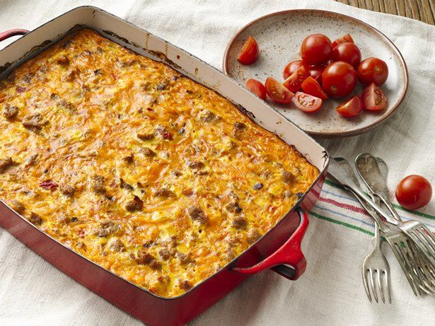 Egg bakes are a must-make when you have company for breakfast or brunch. This Mexican-inspired casserole recipe is packed with crowd-pleasing ingredients like hash browns, breakfast sausage, cheddar cheese and plenty of salsa. Serve each slice with a dollop of sour cream and more salsa. Sliced avocados and olives would also be divine!