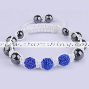 Clay Shamballa Bracelet, 10mm round blue clay rhinestone beads& 10mm black hematite beads