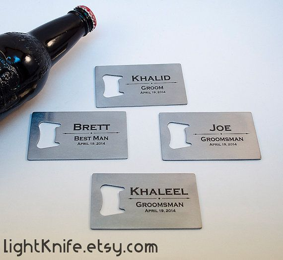 Groomsman Gifts  Bottle Opener Credit Card Sized by LightKnife