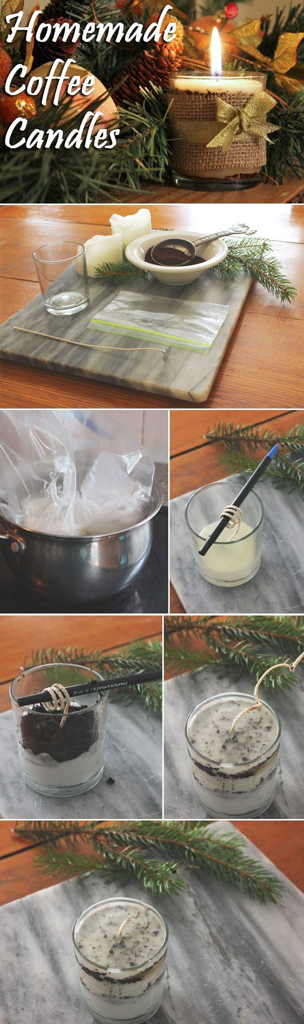Make your own coffee scented candles from old candles and coffee grounds! You can save so much money making this rather than spending a lot at the mall. A great upcycling trick and amazing hostess gift for the holidays! www.ehow.com/...
