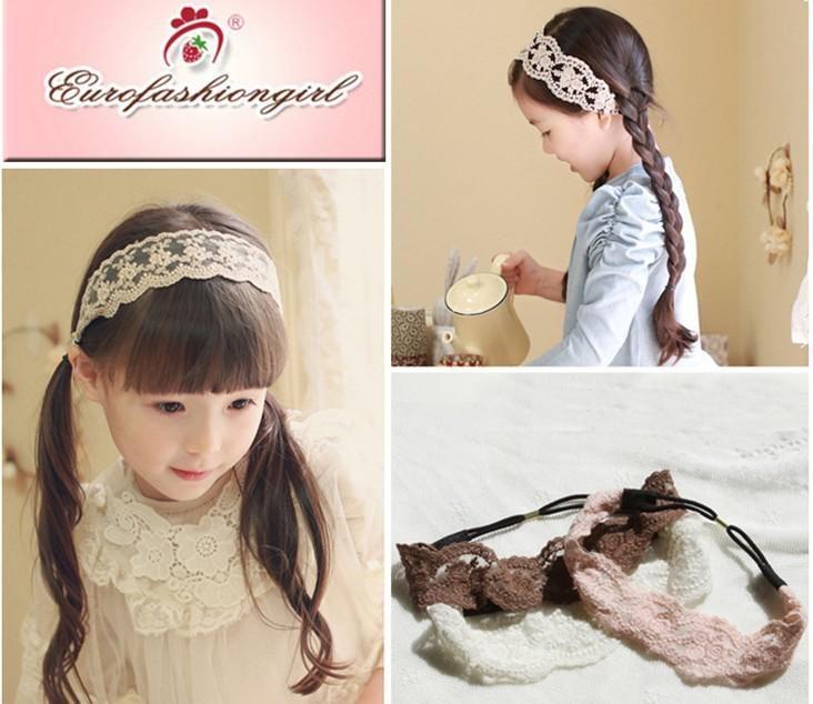 Children Fashion Hair Accessories Girl Lace Princess Vintage Style Headbands Baby Elestic Rubber Band Handband