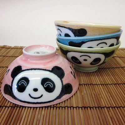 Panda Bowl Set -- Adorable set of 4 porcelain, colorful panda bowls.  Makes a wonderful gift!
