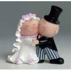 Figura para tarta nupcial con novios Pit&Pita bailando. Fabricada en resina. Medidas: 15 cm
