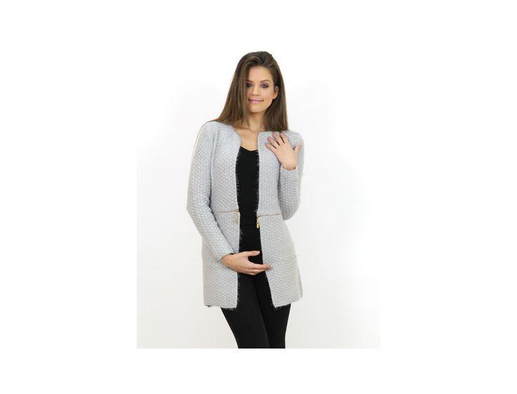 Cardigan Elegant cu Fermoar - Pulovere și Cardigane - www.famevogue.ro  #cardigan #sweater #style #fashion #trends