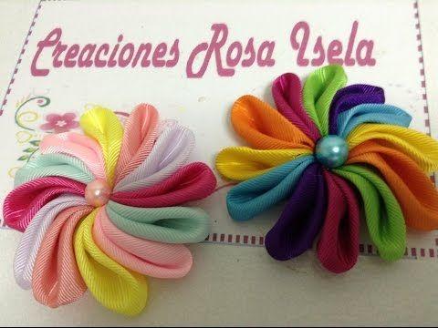 Moños Multicolores para el cabello de las Niñas en cinta Gros. Moños fáciles - YouTube