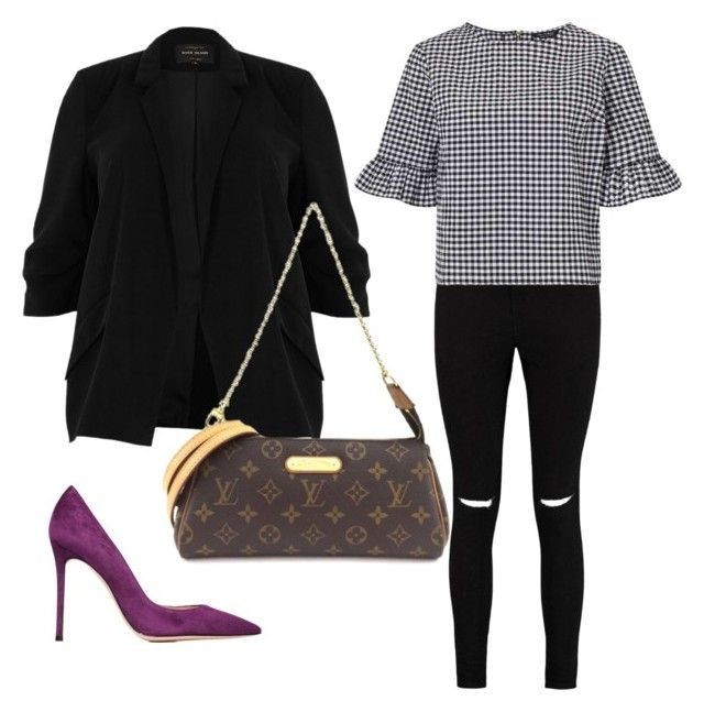 Gingham Blazer Outfit by thinklikeyasso on Polyvore featuring polyvore, mode, style, Miss Selfridge, River Island, Boohoo, Gianvito Rossi, Louis Vuitton, fashion and clothing