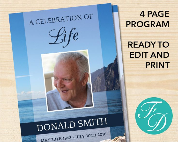 64 best Blue Funeral program Templates images on Pinterest - celebration of life templates