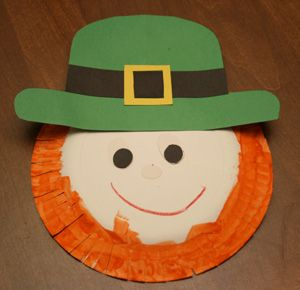 Paper Plate Leprechaun - fringing with scissors