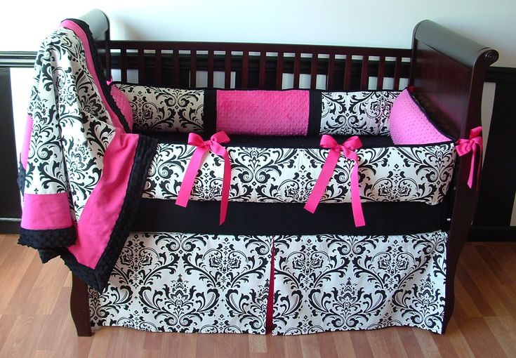 black and white girl crib bedding | For a girl I was going to do something like this
