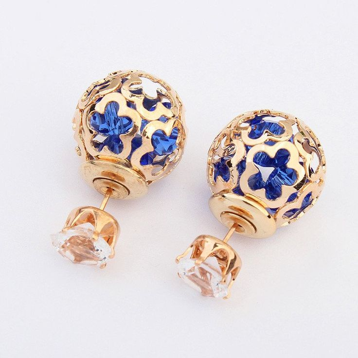 double stud sided lou earrings products flower twd boutiques