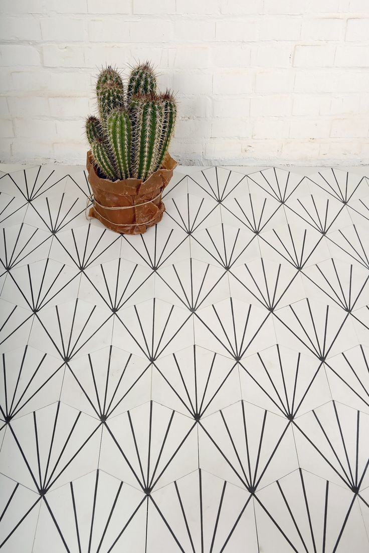 Lovely floor tile pattern with white brick wall.