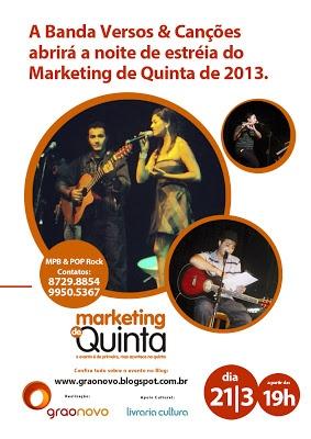 Patrick Lima e sua Banda Versos & Canções abrirá com muito estilo a noite de estréia do Circuito Marketing de Quinta 2013.