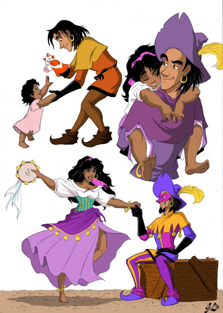 Growing Up a Little Sister - Colored by ~giulal on deviantART Clopin and Esmeralda - so cute! :D