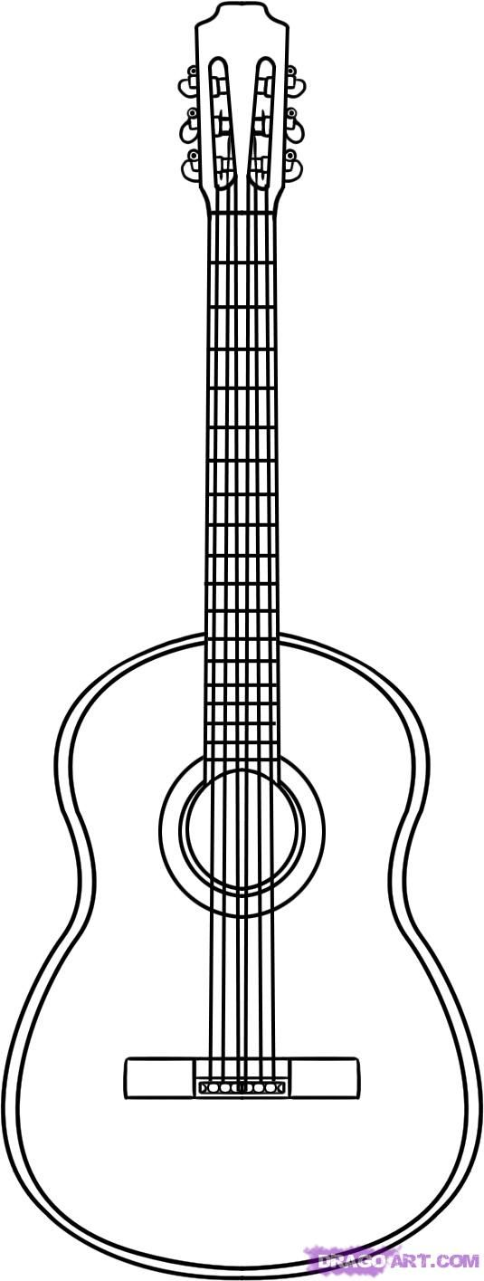 how to draw an acoustic guitar step 4