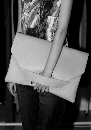 & Other Stories image 2 of Leather clutch in Grey